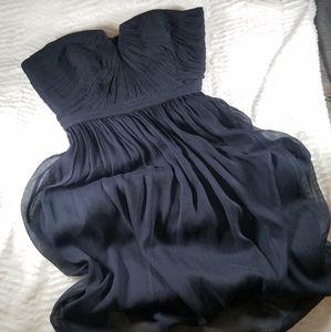 J Crew strapless navy silk dress